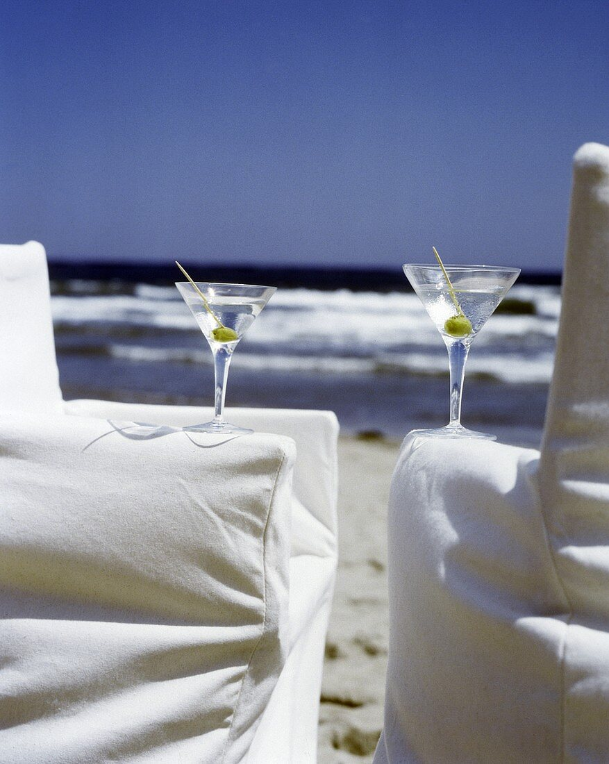 Two Martinis on Beach Chairs