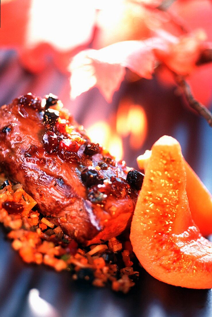 Venison thick flank with quince