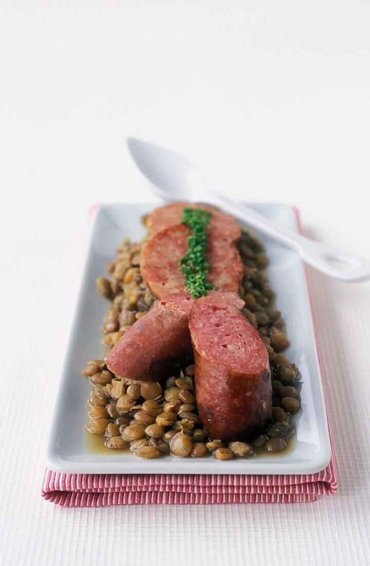 Morteau smoked pork sausage with lentils
