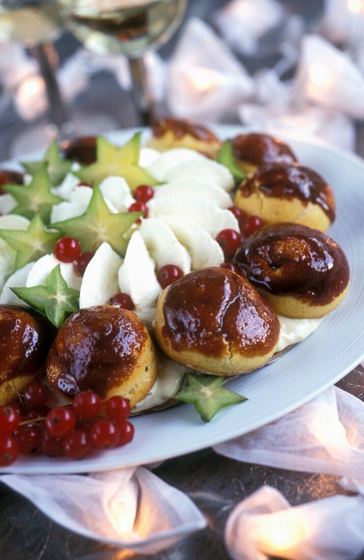 Saint-Honoré profiteroles with exotic fruit