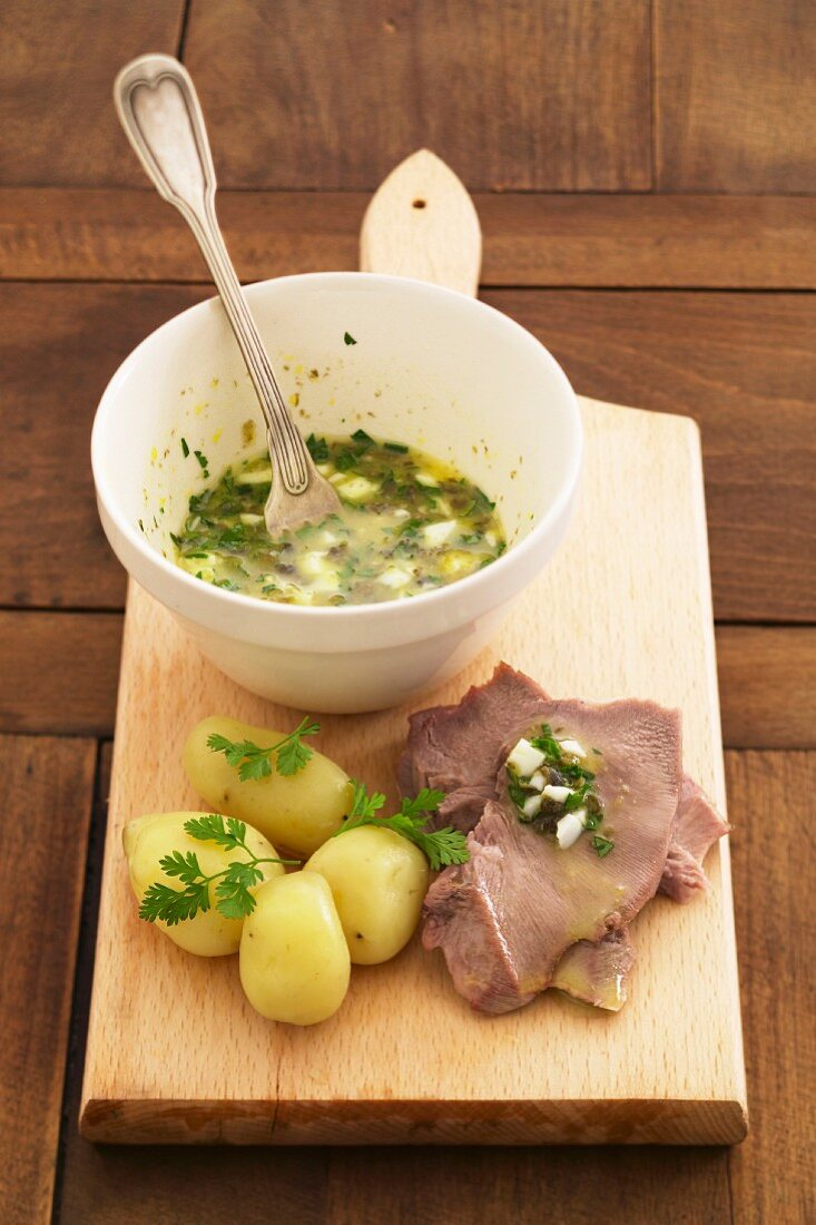Veal toung with gribiche sauce