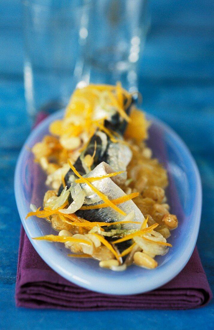 Sardines with grape and orange zest chutney