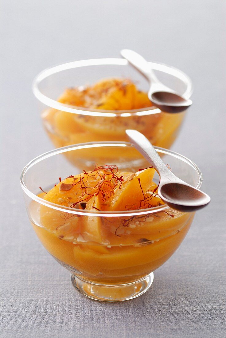 Ice cold peach soup with orange blossom