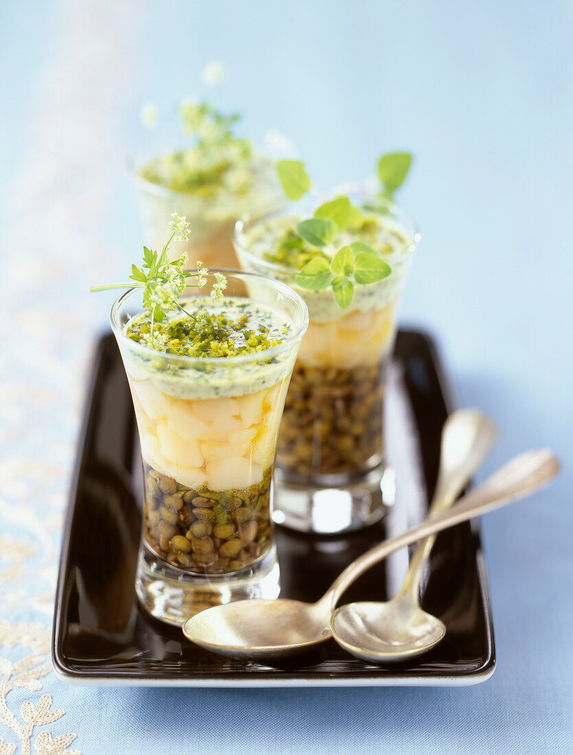 Scallop with lentils in parsley aspic verrine