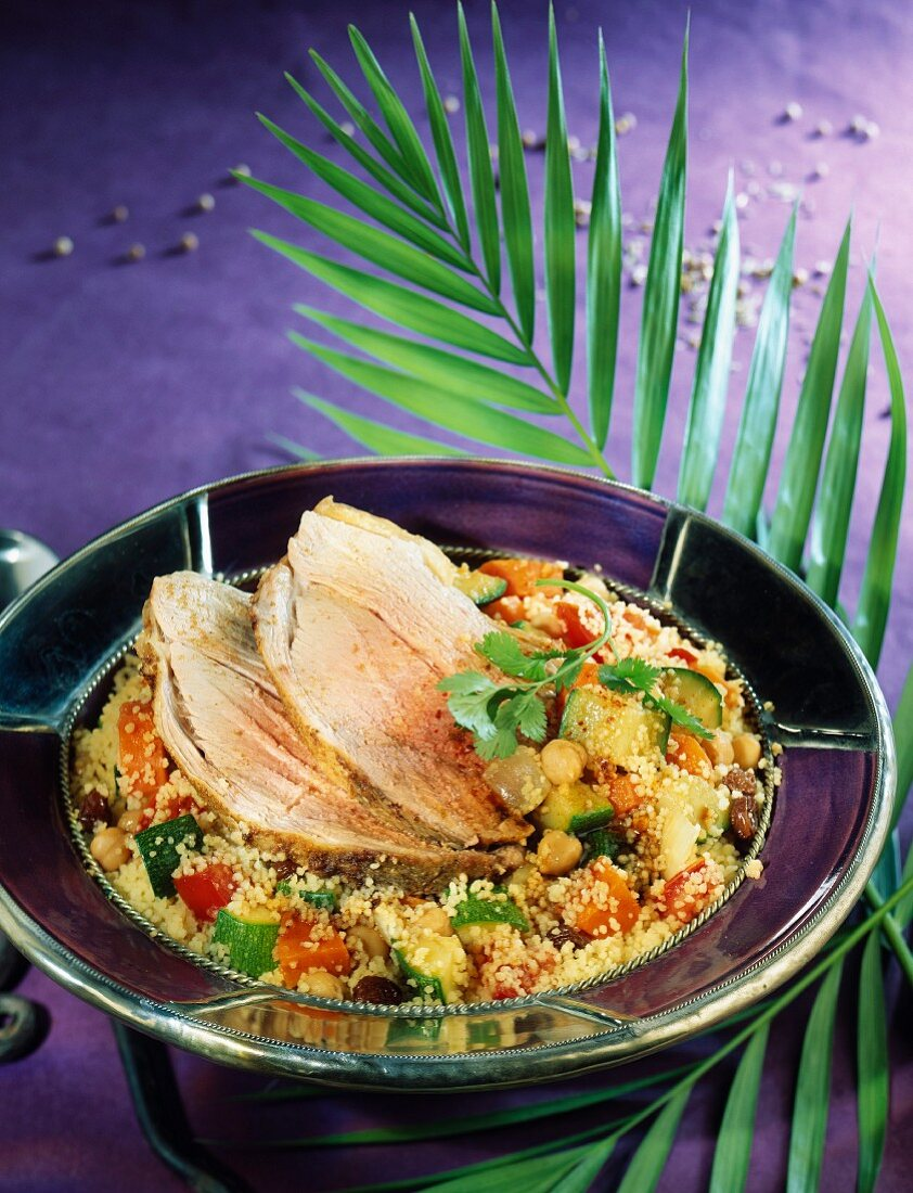 Moroccan-style leg of lamb with couscous