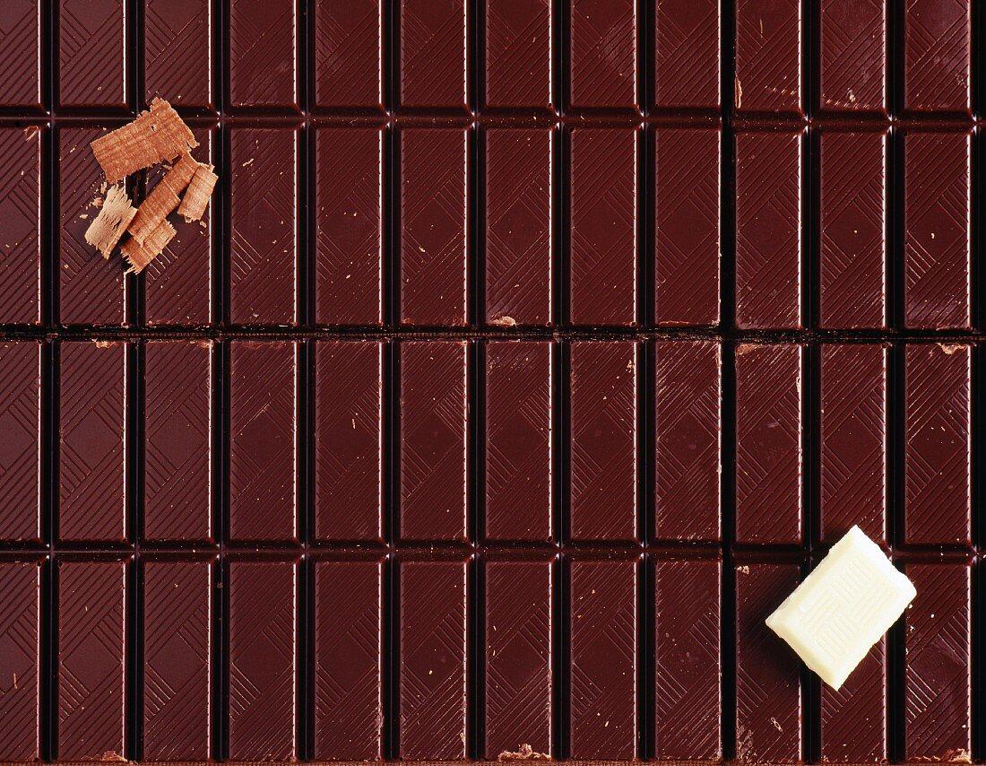 Bars of dark chocolate
