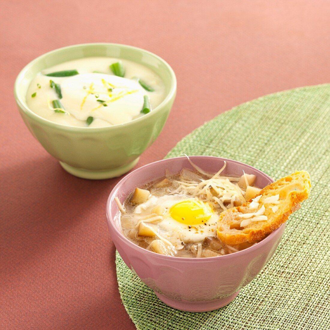 Green bean soup with lemon cream and Provençal-style aubergine soup
