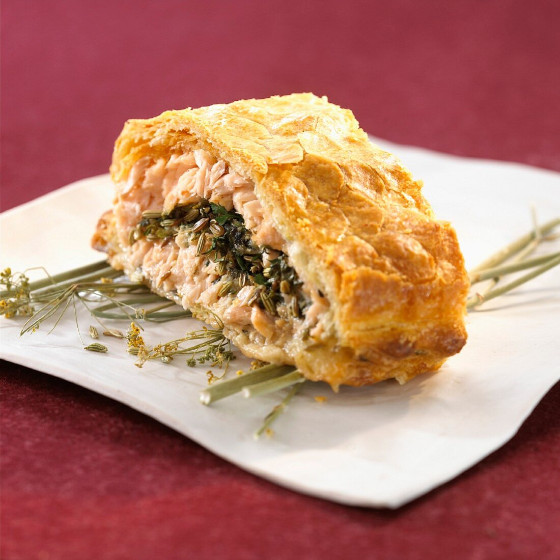 Salmon puff pastry with anise