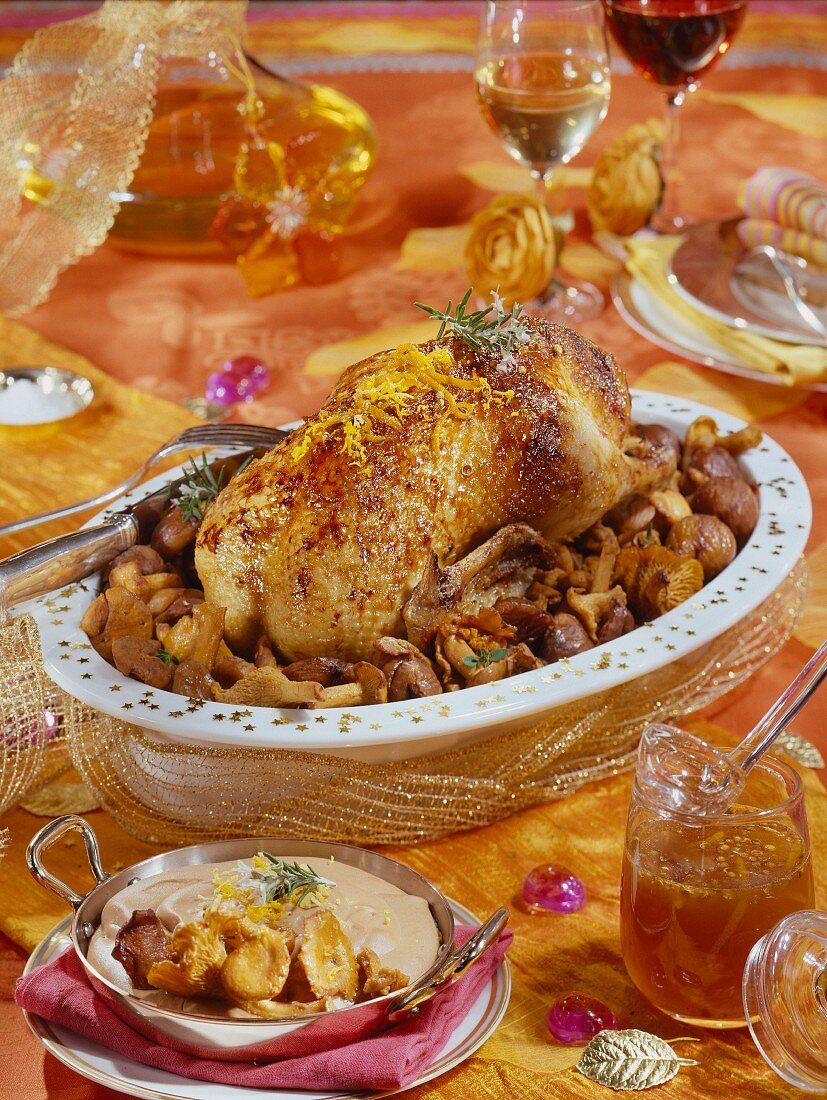 Roast duck with oranges,chanterelles and chestnuts