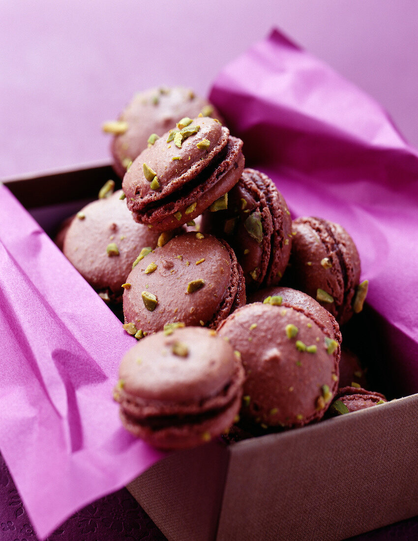 Chocolate,passionfruit and pistachio macaroons