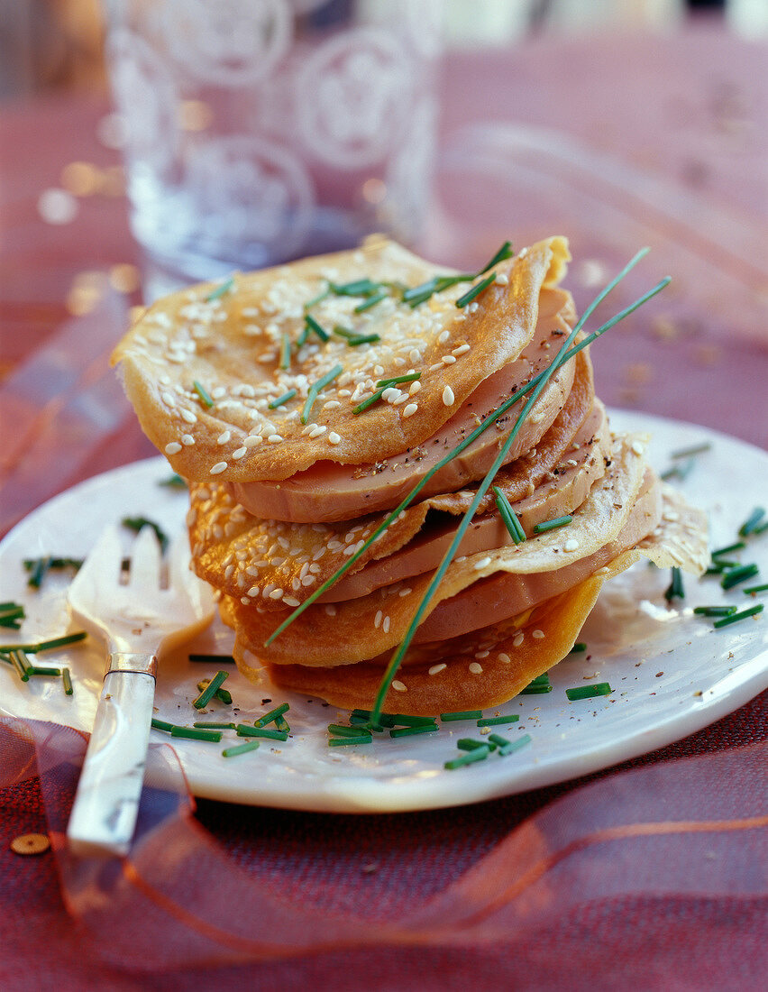 Foie gras and sesame seed galette Mille-Feuille