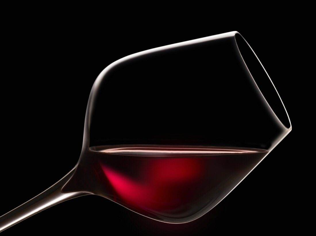 Glass of red wine for tasting