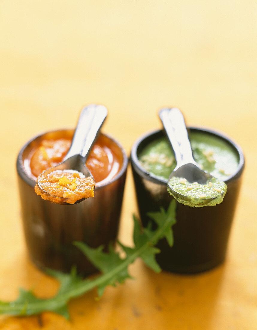 Orange lentil sauce and dandelion sauce