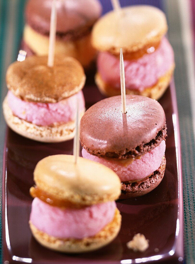 Macaroons filled with sorbet