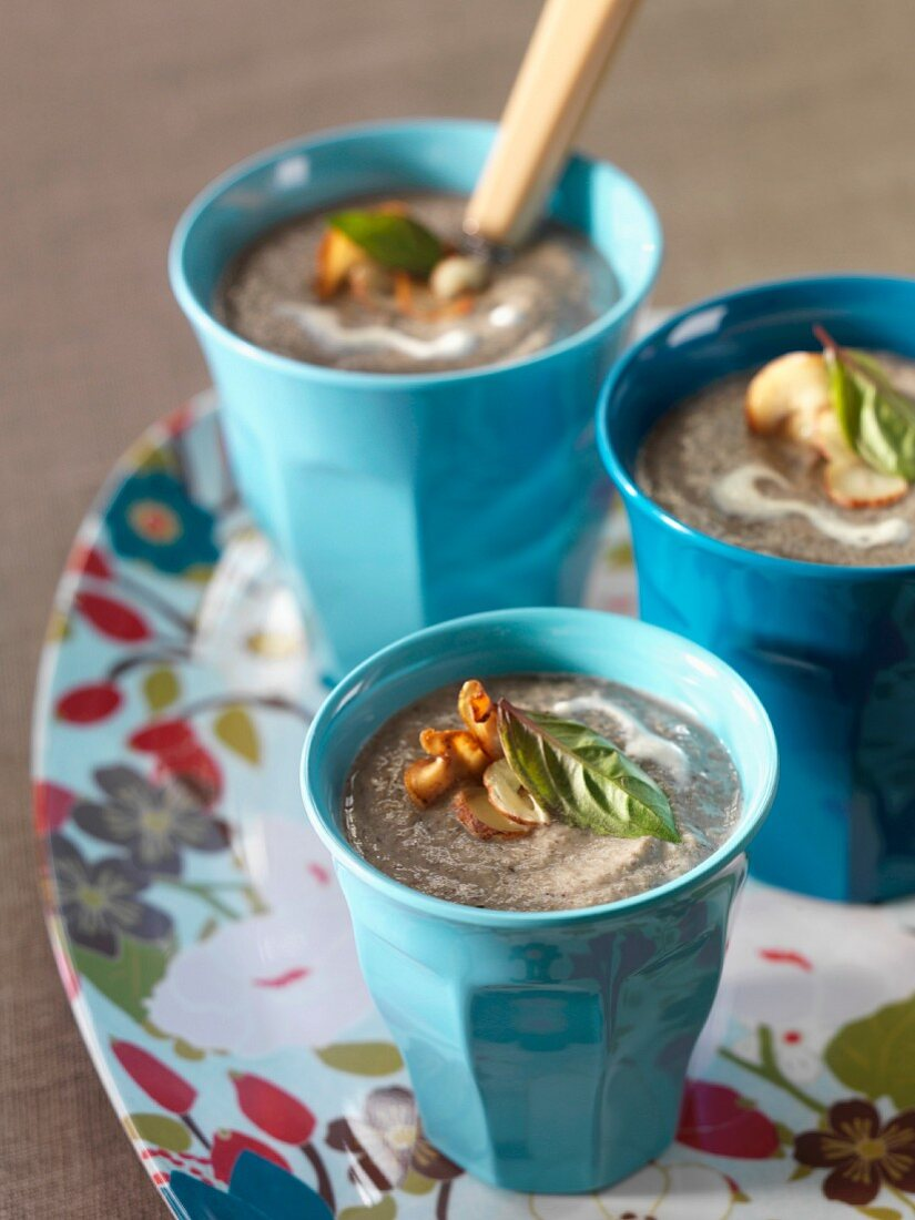 Mushroom, thyme and basil soup