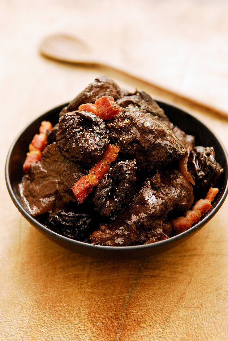 Daube cooked with red wine,prunes and bacon