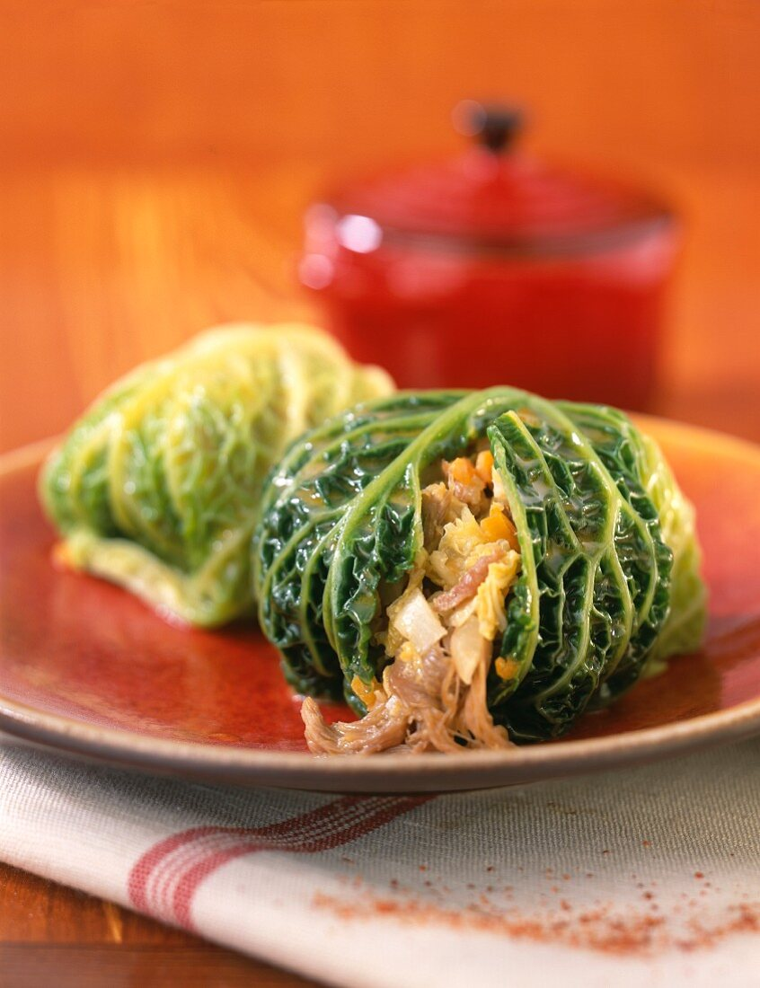 Cabbage leaves stuffed with chestnuts and spring vegetables