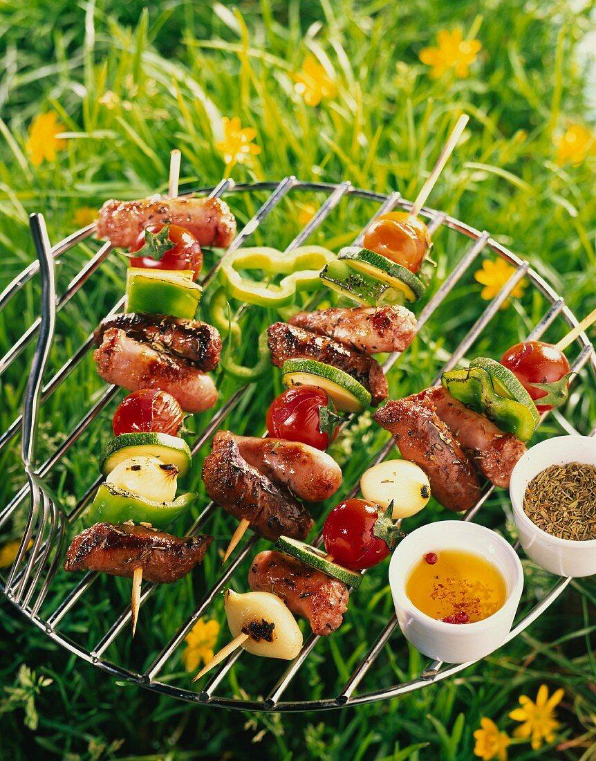Sausage and vegetable skewers