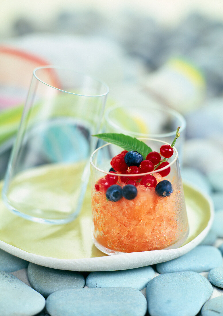 Melon sherbet ice with summer fruit