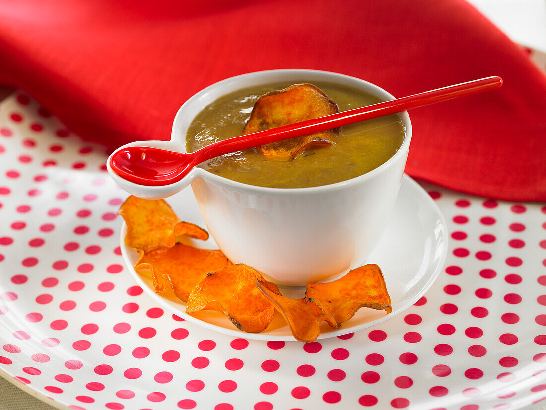 Chestnut soup and sweet potato chips