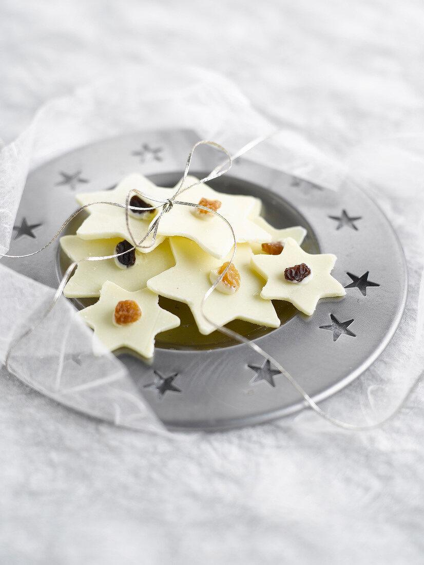 Star-shaped white chocolates