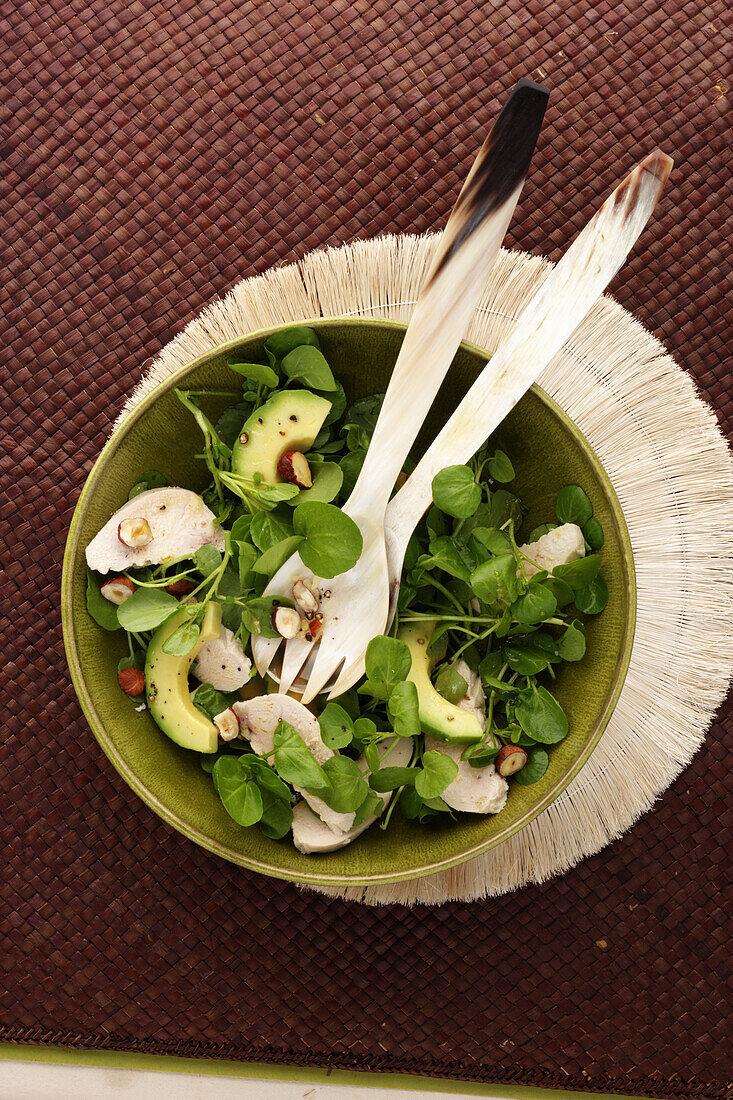 Corn salad,chicken,avocado and hazelnut salad