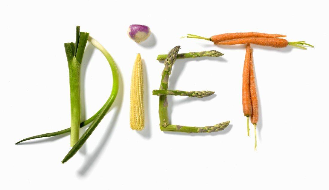"""""""Diet"""" written with vegetables"""