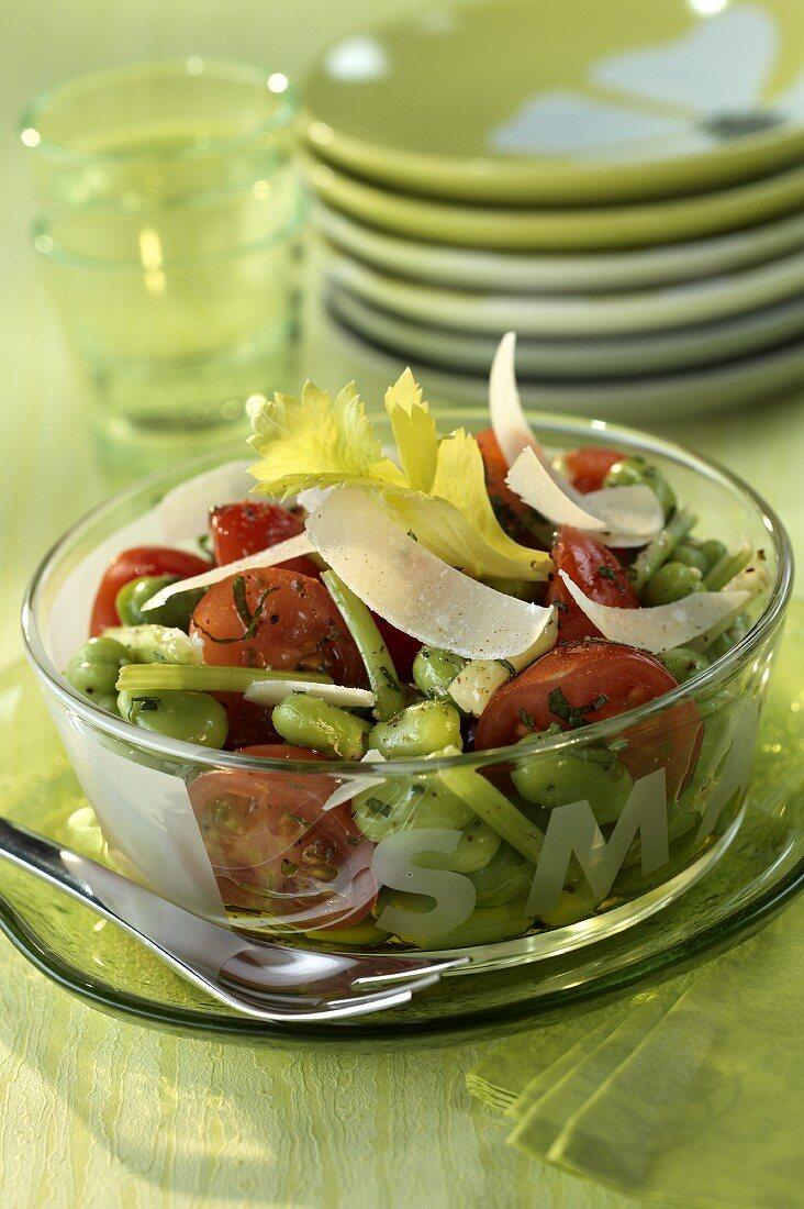 Fresh broad bean and cherry tomato salad