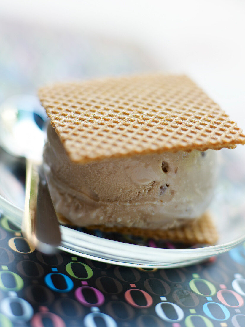 Coffee ice cream in wafer sandwich