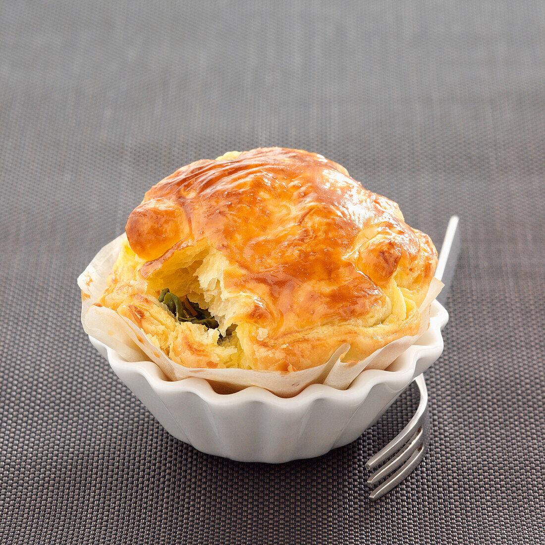 Leek flaky pastry pie