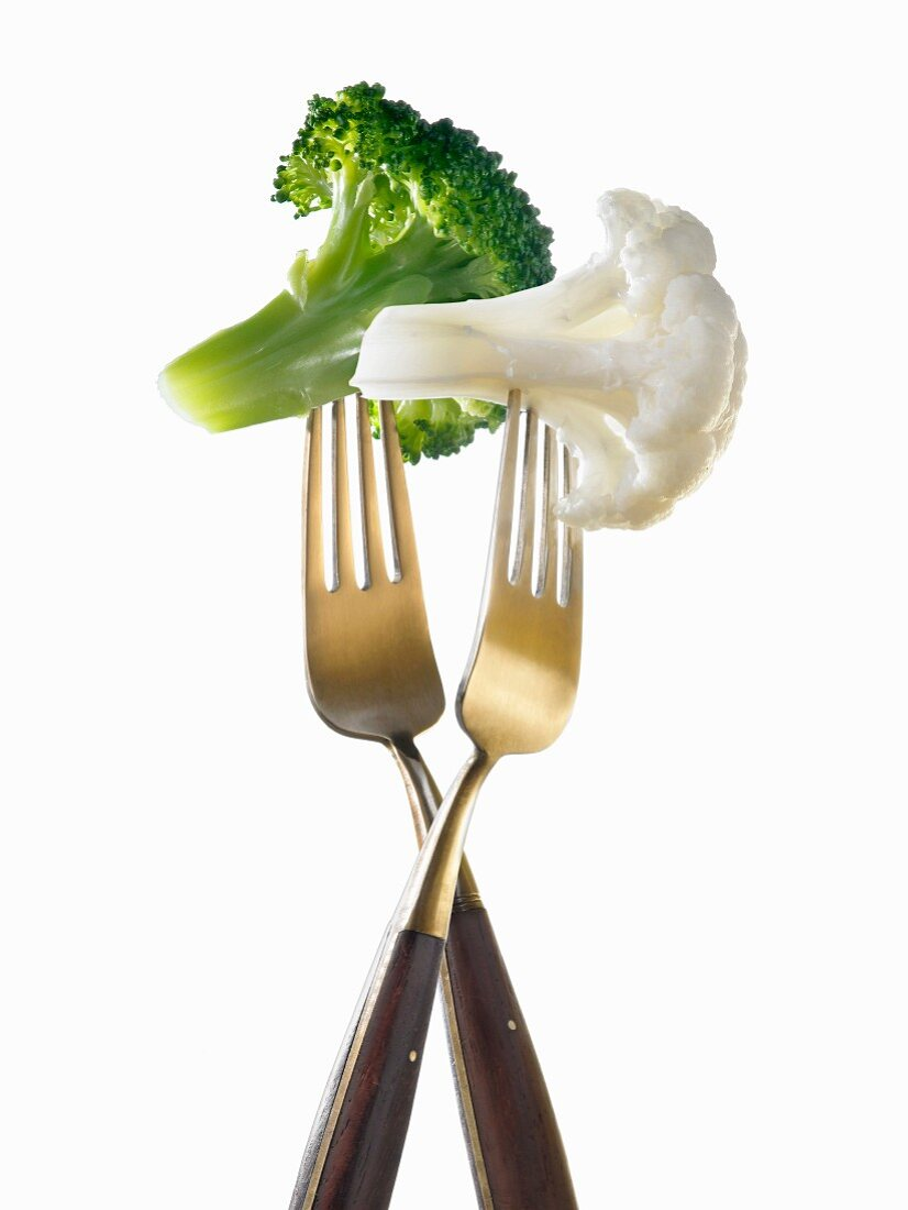 """""""Two forks with broccoli and cauliflower ;light lunch"""""""