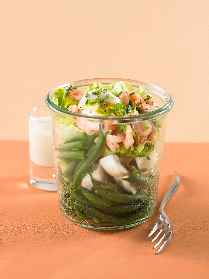 Shrimp and green bean salad