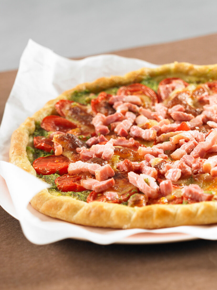 Diced bacon thin pastry tart