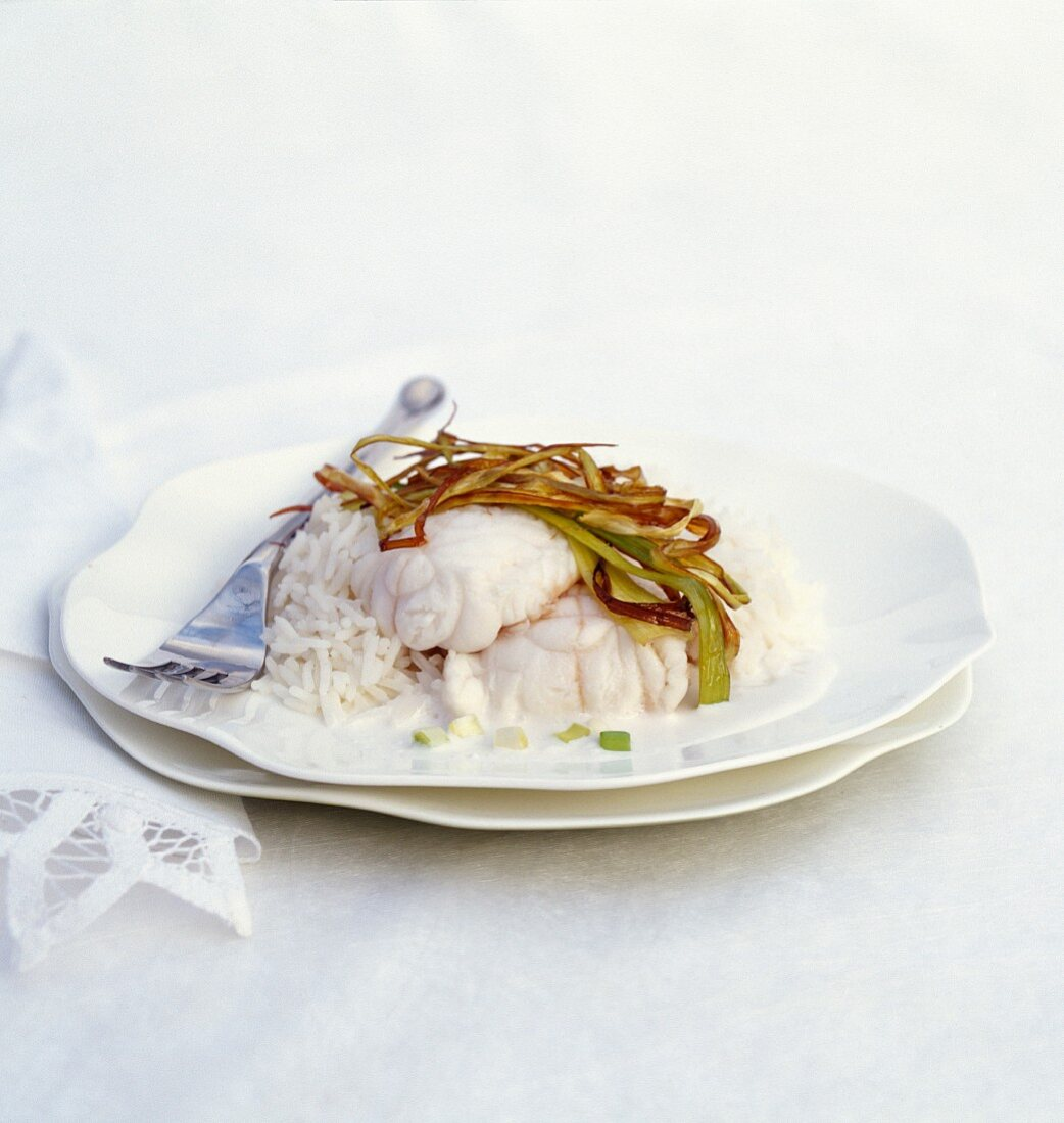 Monkfish with coconut milk, leek and basmati rice