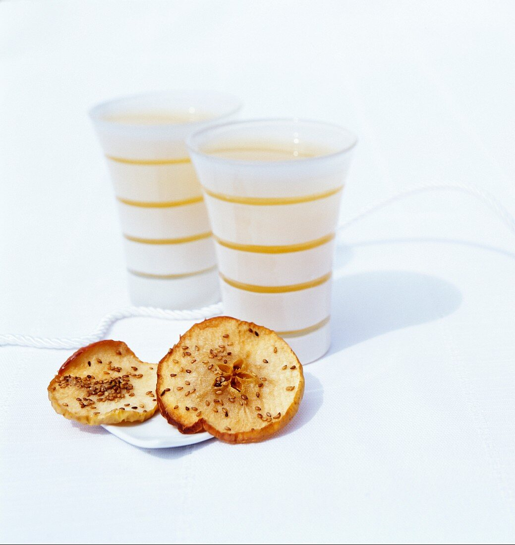 Kwass (traditional Russina bread drink) with apples