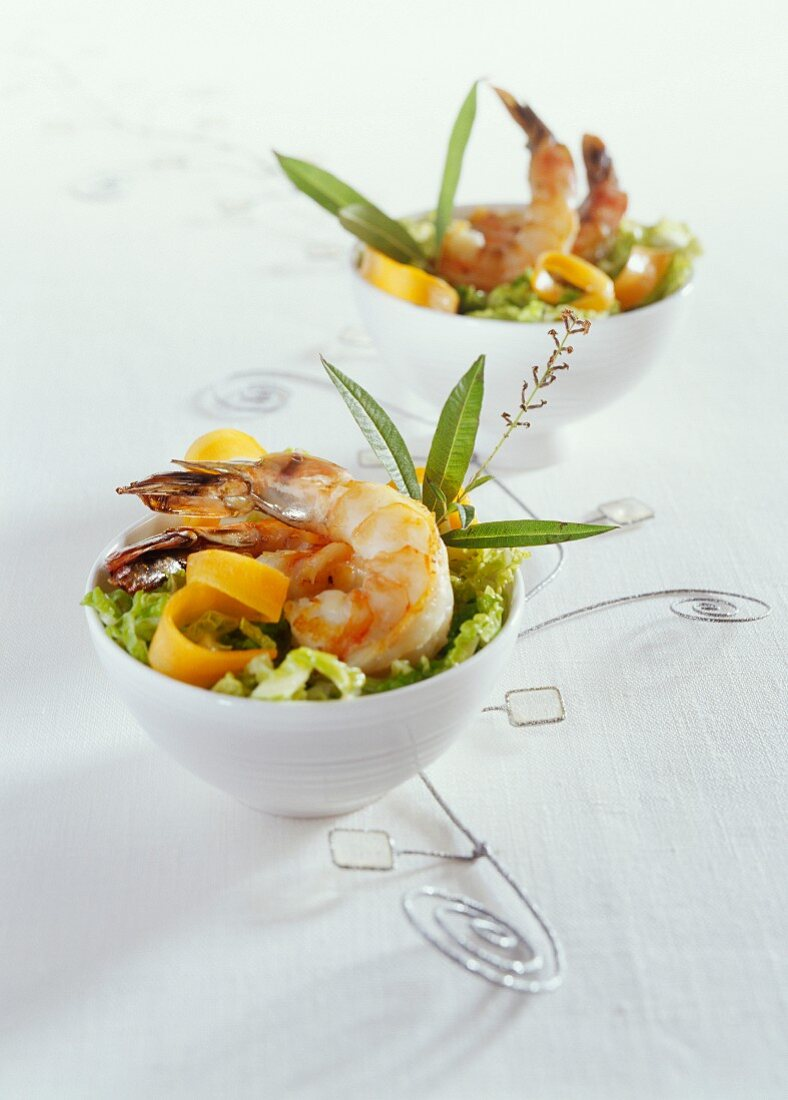 Sautéed prawns on savoy cabbage with lemongrass and anchovies from Collioure
