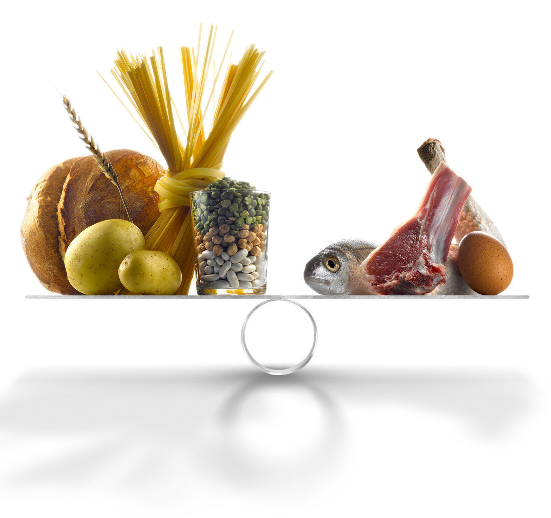 Products with a high level of carbohydrates against high- protein products on scales
