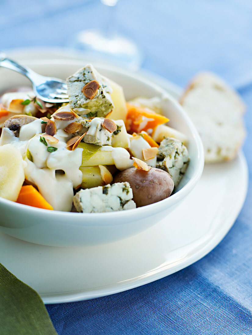 Vegetarian Pot-au-feu with parsley butter and almonds