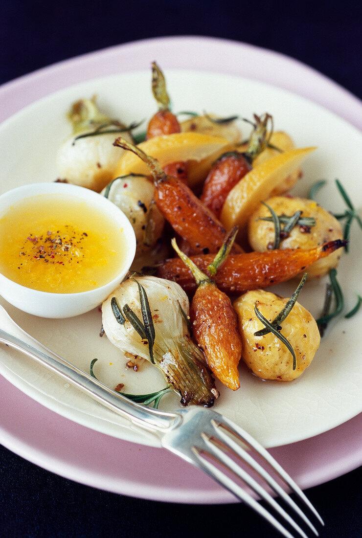 Confit vegetables with confit lemon sauce