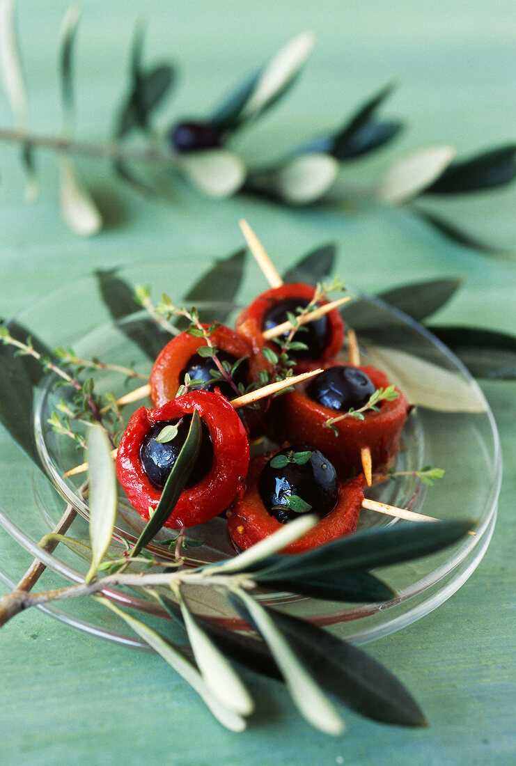 Grilled red pepper and olive mini skewers