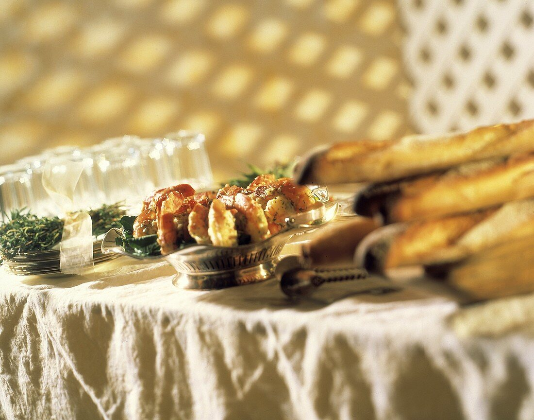 Garden Party Buffet with Shrimp Cocktail; Bread