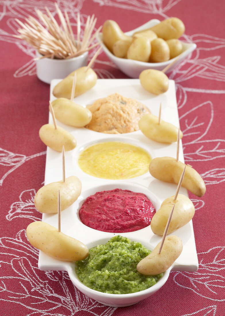 Touquet Ratte potatoes with a selection of dip sauces