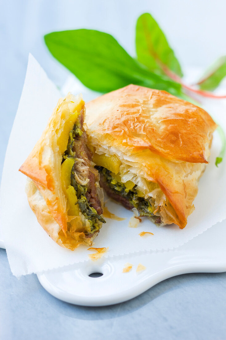 Potted duck,sorrel and mango filo pastry pie