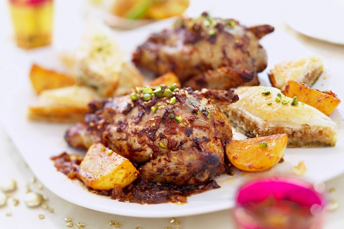 Grilled pigeons with turnips and baklavas