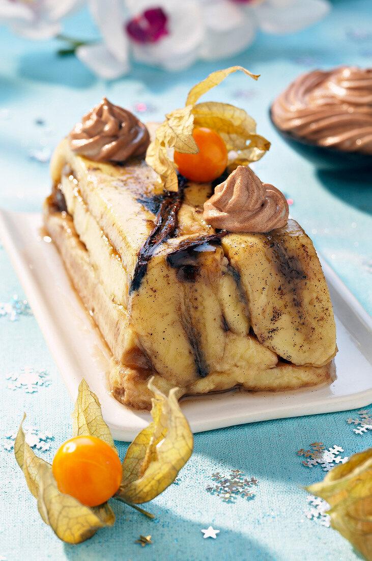 Banana marble log cake with chocolate whipped cream