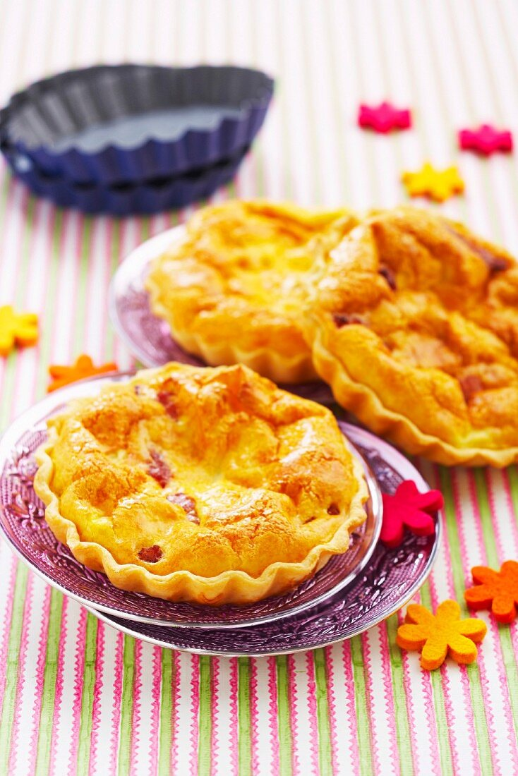 Diced bacon puff quiches
