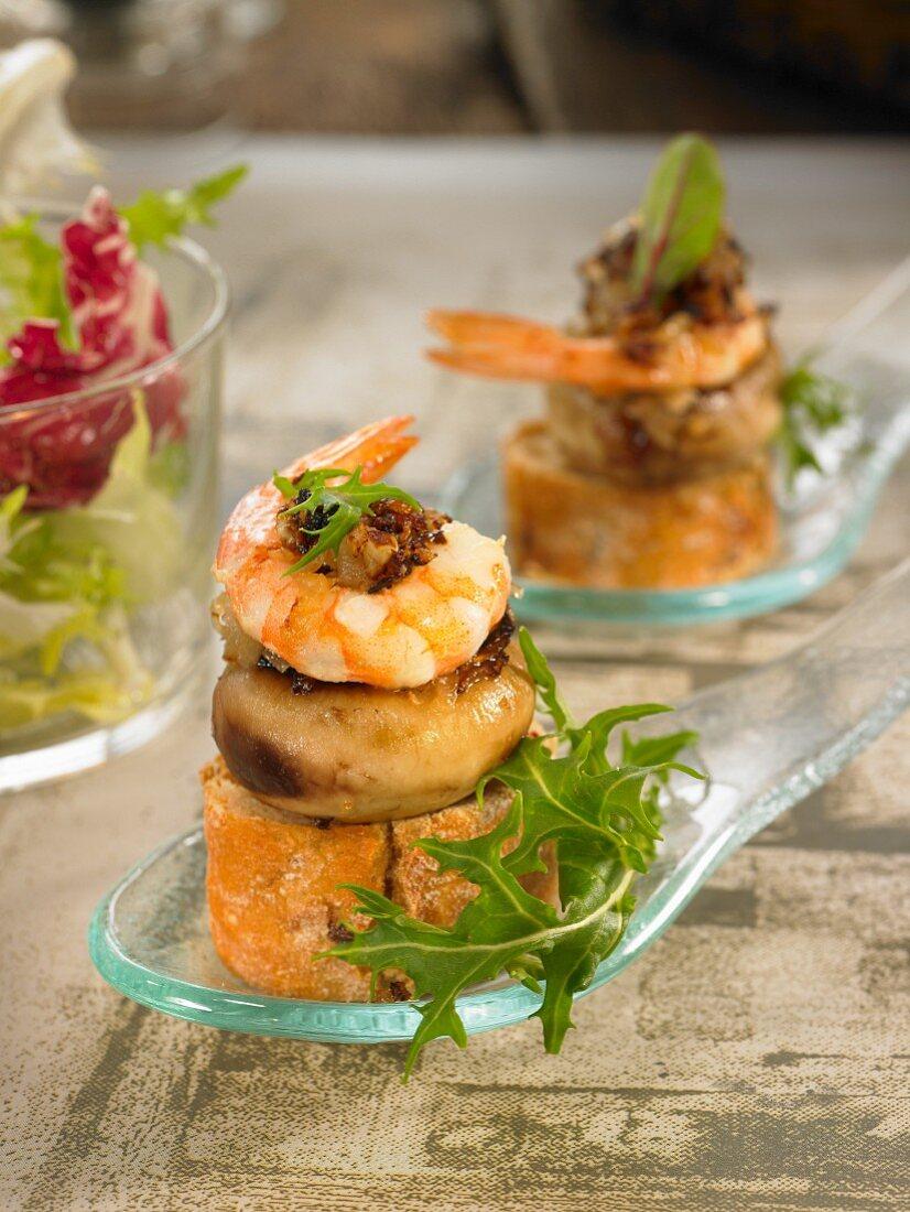 Mushroom and shrimp open sandwich