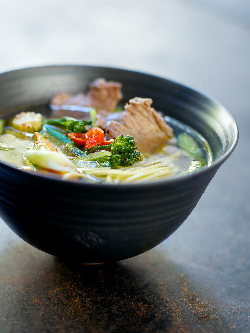 Beef,vegetable and chinese noodle soup