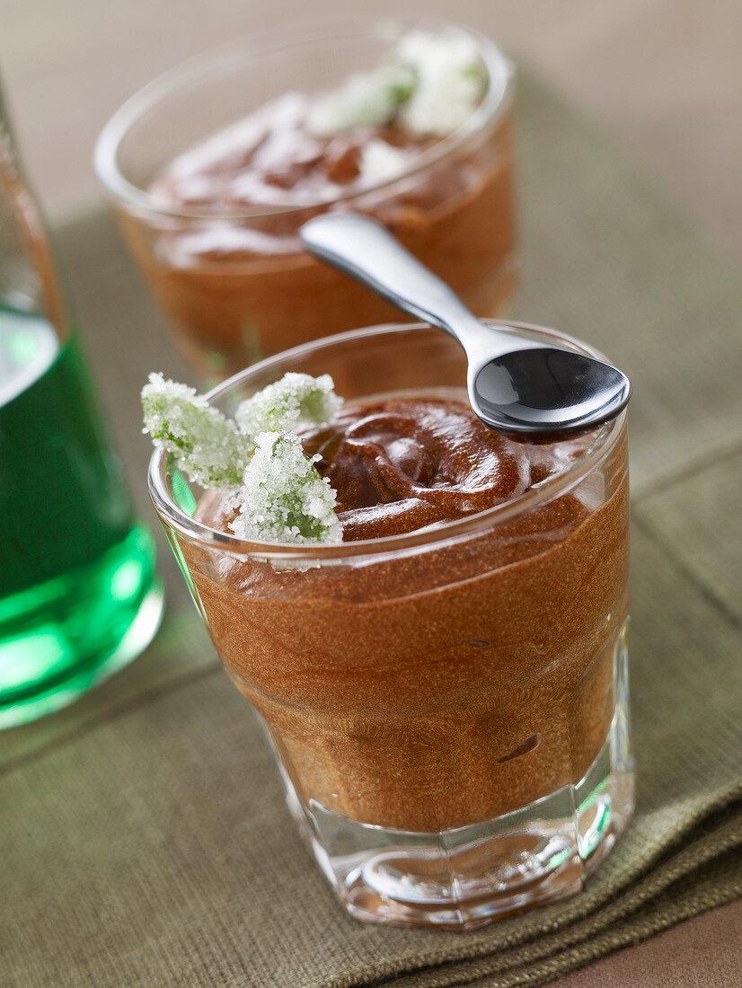 Chocolate and mint liqueur mousse