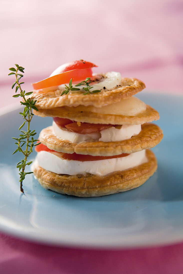 Tomate and mozzarella flaky pastry Mille-feuille